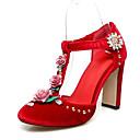 povoljno Ženske cipele s petom-Žene Cipele Brušena koža Proljeće Udobne cipele Cipele na petu Kockasta potpetica Krakova Toe Crn / Crvena / Pink