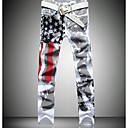baratos Walkie Talkies-Homens Activo Jeans Calças - Geométrica Preto & Branco