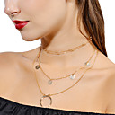 cheap Bracelets-Women's Pearl Layered Choker Necklace / Pendant Necklace / Layered Necklace - Floral / Botanicals, Moon Personalized, Fashion, Multi Layer Gold, Silver Necklace For Evening Party, Street, Going out