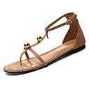 povoljno Ženske sandale-Žene PU Ljeto Udobne cipele Sandale Ravna potpetica Okrugli Toe Štras Crn / Bijela