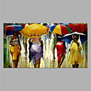 cheap People Paintings-Oil Painting Hand Painted - People Modern Rolled Canvas
