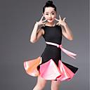 baratos Roupas de Dança Latina-Dança Latina Vestidos Para Meninas Espetáculo Elastano Fitas e Laços / Franzido Sem Manga Vestido