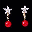 זול צמיד אופנתי-בגדי ריקוד נשים זירקונה מעוקבת מסוגנן עגילים צמודים עגילי קליפס - פרח, כדור אופנתי אדום עבור חתונה ארוסים