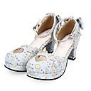 povoljno Lolita obuća-Cipele Princess Lolita Kockasta potpetica Cipele Uzorak 6.5 cm CM Obala / Plav Za PU Halloween kostime