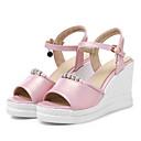povoljno Ženske sandale-Žene Sandale platforme PU Ljeto Udobne cipele Sandale Wedge Heel Peep Toe Štras Obala / Plava / Pink