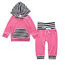 ieftine Set Îmbrăcăminte Bebeluși-Bebelus Fete De Bază Zilnic Dungi / Bloc Culoare Manșon Lung Regular Bumbac Set Îmbrăcăminte Trifoi / Copil