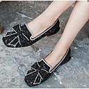 ieftine Mocasini de Damă-Pentru femei PU Vară Confortabili Pantofi Flați Toc Drept Vârf rotund Negru / Argintiu