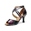 رخيصةأون أحذية لاتيني-للمرأة أحذية رقص جلد كعب نحيفة عالية الكعب أحذية الرقص أسود