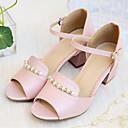 povoljno Ženske cipele bez vezica-Žene Cipele PU Ljeto Udobne cipele Sandale Kockasta potpetica Otvoreno toe Umjetni biser Obala / Plava / Pink