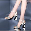 povoljno Ženske sandale-Žene Cipele Mekana koža Ljeto Udobne cipele Sandale Kockasta potpetica Otvoreno toe Kopča Obala / Pink