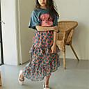 cheap Girls' Dresses-Kids Girls' Boho Geometric Cotton Skirt Blue 7-8 Years(140cm)
