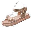 povoljno Ženske sandale-Žene Cipele PU Ljeto Salonke s remenčićem Sandale Ravna potpetica Mašnica Crn / Bež