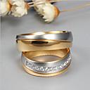 baratos Anéis-Casal Zircônia cúbica Anéis de Casal - Fashion, Elegante 6 / 7 / 8 Dourado Para Casamento / Noivado / Cerimônia