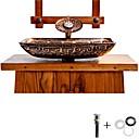 billige Frittstående vask-Baderomsvask / Baderomskran / Baderom Monteringsring Antikk - Herdet Glass Rektangulær