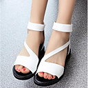 cheap Women's Sandals-Women's Shoes PU(Polyurethane) Summer Comfort Sandals Low Heel White / Black / Silver