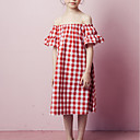 ieftine Costum Baie Fete-Copii Fete Dulce / Cute Stil Bloc Culoare Manșon scurt Rochie Roșu-aprins 140