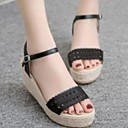 povoljno Ženske sandale-Žene Cipele PU Ljeto Udobne cipele Sandale Wedge Heel Crn / Badem