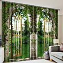 cheap 3D Duvet Covers-Blackout 3D Curtains 2*(W110cmxL180cm) Green / Bedroom
