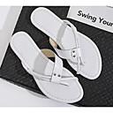 olcso Fiú cipők-Női Cipő Nappa Leather Nyár Kényelmes Papucs és papuc Lapos Fehér / Fekete