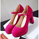 זול נעלי עקב לנשים-בגדי ריקוד נשים סוויד חורף נוחות עקבים עקב עבה שחור / אדום / ורוד / יומי