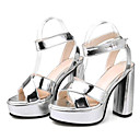 cheap Women's Sandals-Women's Synthetics Summer Comfort Sandals Chunky Heel Gold / Black / Silver