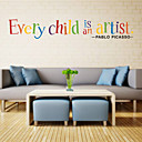 baratos Adesivos de Parede-Autocolantes de Parede Decorativos - Etiquetas de parede de palavras e citações Personagens Quarto de Crianças / Escritório
