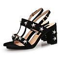 זול סניקרס לנשים-בגדי ריקוד נשים נעליים דמוי עור קיץ רצועה אחורית סנדלים עקב עבה פתוח בבוהן דמוי פנינה / אבזם שחור / חום