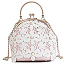 cheap Totes-Women's Bags PU(Polyurethane) Tote Buttons / Lace White / Blushing Pink