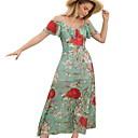 olcso Lány ruhák-Női Alap Vékony Nadrág - Virágos Világoszöld / Pántos