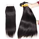 povoljno Ekstenzije od ljudske kose-3 paketi s zatvaranjem Malezijska kosa Ravan kroj Ljudska kosa Netretirana  ljudske kose Ljudske kose plete Bundle kose Jedan Pack Solution 8-20 inch Prirodna boja Isprepliće ljudske kose Novi / 8A