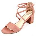 cheap Women's Sandals-Women's PU(Polyurethane) Summer Ankle Strap Sandals Chunky Heel Black / Beige / Pink