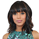 cheap Human Hair Capless Wigs-Synthetic Wig Wavy Bob Haircut Synthetic Hair 14 inch Women / African American Wig / With Bangs Black / Brown Wig Women's Mid Length Capless Black / Brown