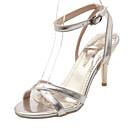 povoljno Ženske sandale-Žene Cipele PU Ljeto Udobne cipele Sandale Stiletto potpetica Otvoreno toe Kopča Zlato / Srebro / Crvena