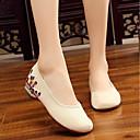 preiswerte Damen Sandalen-Damen Schuhe Leinwand Sommer Komfort / Ballerina Flache Schuhe Niedriger Heel Weiß / Schwarz