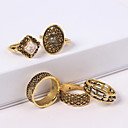 baratos Anéis-5pçs Mulheres Retro Conjunto de anéis - Strass, Liga senhoras, Vintage, Europeu, Fashion Jóias Dourado Para Casual Diário