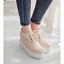 povoljno Ženske sandale-Žene Cipele PU Ljeto Udobne cipele Oksfordice Creepersice Zatvorena Toe Crn / Bež / Pink