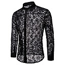 cheap Men's Athletic Shoes-Men's Party Club Weekend Basic Shirt - Solid Colored Lace / Cut Out / Mesh White US38 / Long Sleeve