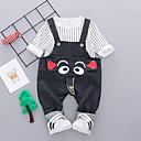 tanie Zestawy ubrań dla Chłopięce niemowląt-Dziecko Dla chłopców Podstawowy Codzienny Prążki Nadruk Długi rękaw Regularny Bawełna Komplet odzieży Czarny / Brzdąc