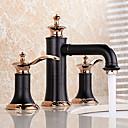 billige Vandhaner til badeværelset-Håndvasken vandhane - Udbredt / Nyt Design Olie-gnedet Bronze Vandret Montering To Håndtag tre huller