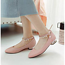 cheap Women's Flats-Women's Shoes Nappa Leather Summer Comfort Flats Low Heel Pointed Toe Imitation Pearl White / Blue / Pink