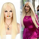 cheap Clip in Hair Extensions-Synthetic Lace Front Wig Straight Golden Side Part Synthetic Hair 28 inch Party / Women / Synthetic Golden Wig Women's Long Lace Front