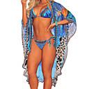 cheap Human Hair Wigs-Women's Basic Boho Halter Neck Blue Tie Side Multi-piece Swimwear - Color Block Lace up M L XL Blue / Sexy