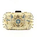 billige Clutch- og aftenvesker-Dame Poser polyester Aftenveske Perlearbeid / Krystalldetaljer Blomstermønster Lys Gull
