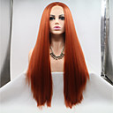 cheap Synthetic Lace Wigs-Synthetic Lace Front Wig Straight Layered Haircut 130% Density Synthetic Hair 26 inch Women / Youth Red Wig Women's Mid Length Lace Front Auburn / Yes