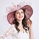 levne Ozdoby do vlasů na večírek-Dámské Kentucky Derby Vintage Dovolená Volány Síťka Bucket klobouček Se širší krempou Sluneční klobouk-Jednobarevné Květinový Šifón Krajka Celý rok Světlá růžová