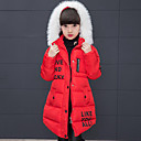 cheap Girls' Jackets & Coats-Kids Girls' Active / Street chic Going out Print / Patchwork Patchwork / Print Long Sleeve Long Down & Cotton Padded