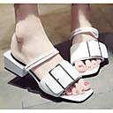 billige Flade sko til damer-Dame Komfort Sko PU Sommer Sandaler Blokhæl Hvid / Sort / Gul