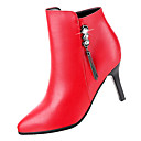 povoljno Ženske čizme-Žene Fashion Boots PU Jesen minimalizam Čizme Stiletto potpetica Krakova Toe Čizme gležnjače / do gležnja Crn / Crvena