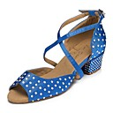 cheap Ballet Shoes-Women's Latin Shoes Satin Sneaker Crystals Thick Heel Dance Shoes Blue