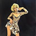 abordables Ropa de Baile para Niños-Trajes de baile Ropa de baile exótica / Monos de club nocturno Mujer Rendimiento Licra Fruncido / Lentejuela Manga Larga Vestido